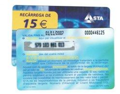 TC MOBILAND 15 € US. 01-11-2007 - Andorra