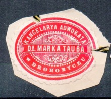 Poland Ukraine Lawyer Adwokat Mark Tauba Drohobycz Wafer Siegelmarke Vignette - Used Stamps