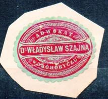 Poland Ukraine Lawyer Adwokat Wladislaw Szajna Drohobycz Wafer Siegelmarke Vignette - ....-1919 Provisional Government