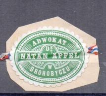Poland Ukraine Lawyer Adwokat Natan Apfel  Drohobycz Wafer Siegelmarke Vignette - Used Stamps