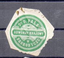 Poland Ukraine Lawyer Adwokat D.Falk  Drohobycz Wafer Siegelmarke Vignette - ....-1919 Provisional Government