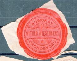 Poland Ukraine Lawyer Adwokat Witold Wiesenberg  Drohobycz Wafer Siegelmarke Vignette - ....-1919 Provisional Government
