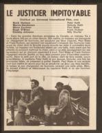 CINEMA 1953 - RESUME PITCH Du FILM LE JUSTICIER IMPITOYABLE - ROCK HUDSON MARCIA HENDERSON STEVE COCHRAN - Sonstige