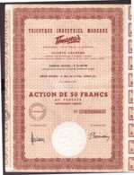 Action De 50 Francs. Tricotage Industriel Moderne S.A. Timwear. + 25 Coupons N° 179.895. - Textile