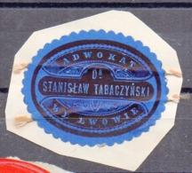 Poland Ukraine Lawyer Adwokat Stanislaw Tabaczynski  Lwow Lemberg  Wafer Siegelmarke Vignette - ....-1919 Provisional Government
