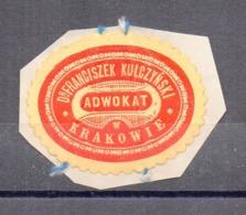 Poland Lawyer Adwokat Franciszek Kulczynski Krakow  Wafer Siegelmarke Vignette - ....-1919 Provisional Government