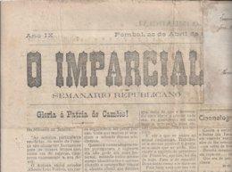 Jornal 'O Imparcial' De Pombal De 22/04/1917. Selos Fiscais De Anuncio. Seguro De Guerra Da 1ª Guerra Mundial. 3sc - Documenti Storici