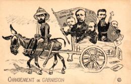 """Frankreich, Politische Karikatur """"Changement De Garnison"""" - Satirische"""
