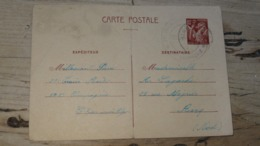 Entier Postal Iris A 80c Posté D'EL BIAR En ALGERIE, Ecrite 25/08/1941 - Poststempel (Briefe)