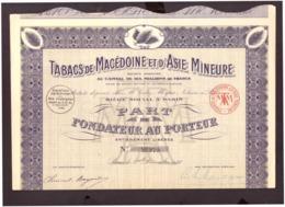Action. Part De Fondateur Au Porteur. Tabacs De Macédoine Et D'Asie Mineure. S.A 1923. + 22 Coupons N° 80979. - Aandelen