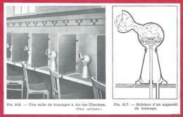Une Salle De Fumages à Ax Les Thermes. Schéma D'un Appareil. Ariège (09). Larousse Médical 1974. - Vieux Papiers