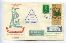 FIRST FLIGHT LOD-WARSAW ISRAEL-POLAND 21.5.1958 - ISRAEL ENVELOPE RECOMMANDE AIR MAIL RARE -LILHU - Israel