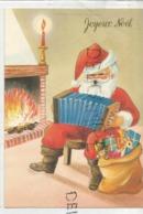 Joyeux Noël. Père Noël Joue De L'accordéon Devant Un Bon Feu, Sac De Cadeaux. - Kerstman