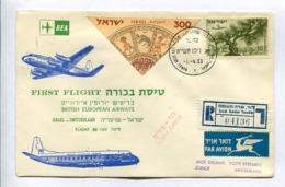 FIRST FLIGHT BRITSH EUROPEAN AIRWAYS ISRAEL-SWITZERLAND LOD-ZURICH 1.4.1958 - ISRAEL ENVELOPE RECOMMANDE RARE -LILHU - Israel
