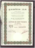 Action. Action De 100 Francs Au Porteur. Gambin.  S.A 1966. + 24 Coupons N° 22.991 - Actions & Titres