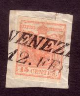 L.V. I Em. Carta A Mano 15 C. N.5 Rosa II Tipo Annullo SI Venezia Su Frammento - Lombardo-Veneto