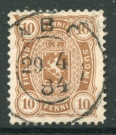 FINLAND 1882 10 P. Yellow-brown Perforated 12½ On Thin Paper Used.  Michel 15 Bxb  €150 - 1856-1917 Russian Government