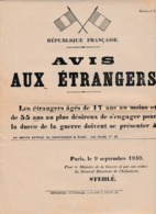 """9 Sept.1939 - DOUAI - Affichette """"AVIS AUX ÉTRANGERS âgés De 17 Ans Au Moins Et 55 Ans Au Plus Désireux De - Documents Historiques"""
