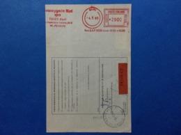 1986 AFFRANCATURA MECCANICA ROSSA EMA RED SU BOLLETTINO PACCO MESSAGGERIE LIBRI SPA BARI - Affrancature Meccaniche Rosse (EMA)
