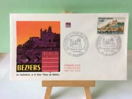 La Cathédrale Et Le Pont Vieux De Béziers - 34 Béziers - 7.9.1968 FDC 1er Jour Coté 1,80€ - FDC