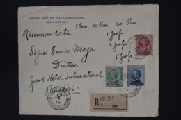 Italy Valona Registered  Front Of Cover Sa 1, 2, 4 28-4-1914 -> Brindisi RR - 11. Foreign Offices