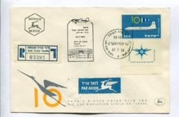 FLIGHT LOD-ELAT 22.7.1959. DIX ANS D'AVIATION CIVILE EN ISRAEL - ISRAEL ENVELOPE RECOMMANDE RARE -LILHU - Israel