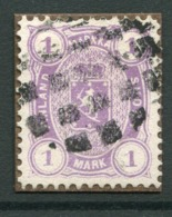 FINLAND 1882 1 Mk..perforated 12½ On Medium Paper Used On Small Piece.  Michel 19 Y - 1856-1917 Russische Verwaltung