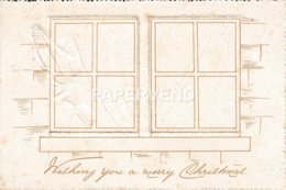 Greeting Card  Windows Open To Reveal Peg Dolls Riding A Turkey An Embossed Folder Egc760 - Old Paper