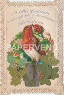 Greeting Card  Early Fine Robin Scrap Paper Lace Border Egc761 - Old Paper