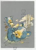 Ourson Avec Seau Sautille Sur Les Pieds D'un Ours. Signée Giordano - Osos