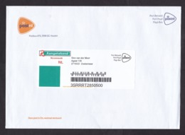 Netherlands: Official Registered Cover, 2019, Uncommon Imprinted R-label Postal Service PostNL (traces Of Use) - Lettres & Documents