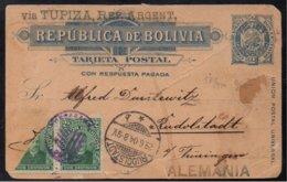 BOLIVIE / 1904 ENTIER POSTAL POUR L'ALLEMAGNE (ref 6412) - Bolivie