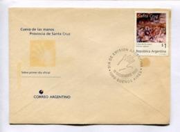 CUEVA DE LAS MANOS, SANTA CRUZ. PINTURA RUPESTRE. ARGENTINA 1993 ENVELOPE FDC PRIMER DIA -LILHU - Archeologia