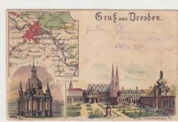 Gruss Aus Dresden - Litho Mit Landkarte - 1898      (A-113-150119) - Dresden