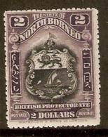 NORTH BORNEO 1911 $2 SG 181 MOUNTED MINT Cat £85 - North Borneo (...-1963)