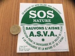 Ancien AUTOCOLLANT, Sticker «SOS NATURE - SAUVONS L'AISNE - REIMS (51) - IMPRIMECRAN Cernay-les-Reims (51)» - Autocollants