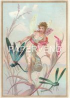 Greeting Card Angel Riding On A Dragonfly  Egc768 - Old Paper