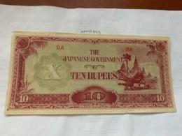 Japan Burma 10 Rupees 1942  Banknote - Japan