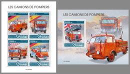 GUINEA REP. 2019 MNH Fire Engines Feuerwehr Fahrzeuge Camions De Pompiers M/S+S/S - OFFICIAL ISSUE - DH1938 - Feuerwehr
