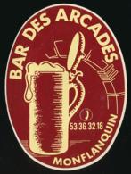 AUTOCOLLANT, STICKERS : MONFLANQUIN (Lot-et-Garonne), Bar Des Arcades, Bière, Chope - Autocollants