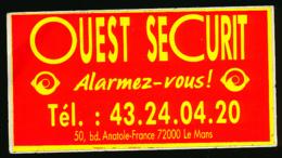 AUTOCOLLANT, STICKERS : LE MANS (Sarthe), Ouest Securit, Alarmez-vous ! - Autocollants