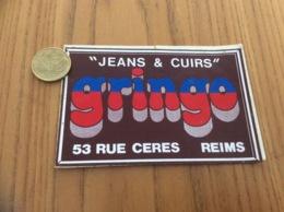 Ancien AUTOCOLLANT, Sticker «JEANS & CUIR Gringo - REIMS (51)» (vêtements) - Autocollants