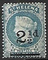 St Helena  1893  Sc#47   2 1/2d  Overprint  MH  2016 Scott Value $3.75  Wmk CA - Isla Sta Helena