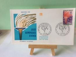 Jeux Olympiques D'Hiver - 38 Grenoble - 6.2.1968 FDC 1er Jour Coté 1,50€ (La Flamme) - 1960-1969
