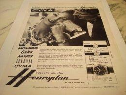 ANCIENNE PUBLICITE MONTRE CYMA D HEUROPLAN 1959 - Autres
