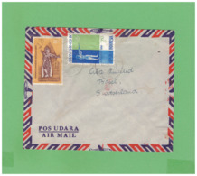 1962 REPUBLIK INDONESIA AIR MAIL COUVERT WITH 2 STAMPS TO SWISS - Indonesien