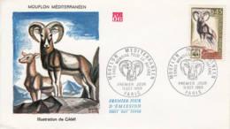 FRANCE - 1969 - FDC - Fonds Mondial Pour La Nature - Mouflon Méditerranéen - 1960-1969