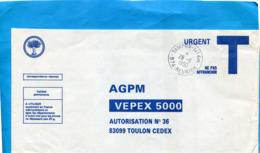 MARCOPHILIE-Lettre REUNION--en Franchise- T - Cad Tampon 14 E Km -1990-pour AG P M Toulon - Lettres Civiles En Franchise