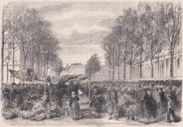 75. PARIS. Le Nouveau Marché Aux Fleurs Sur La Place Lobau. 1866 - Vieux Papiers