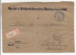 1898 - ENVELOPPE RECOMMANDEE De SERVICE Des AVIS De RECEPTIONS De MÜNCHEN => PARIS Avec CACHET ETRANGERS CHARGEMENTS ! - Deutschland